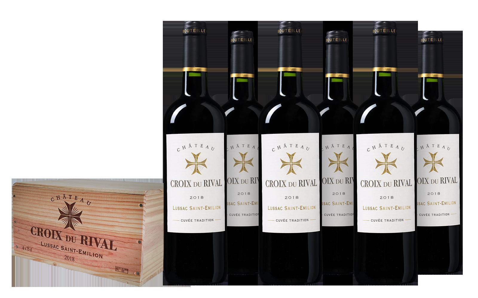 Château Croix du Rival 'Tradition' Lussac - Saint-Émilion wijnkist (6 flessen)