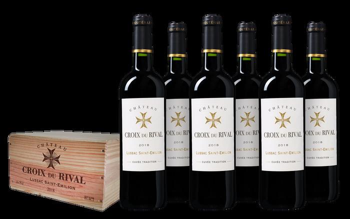 Château Croix du Rival 'Tradition' Lussac - Saint-Émilion kist 6 flessen