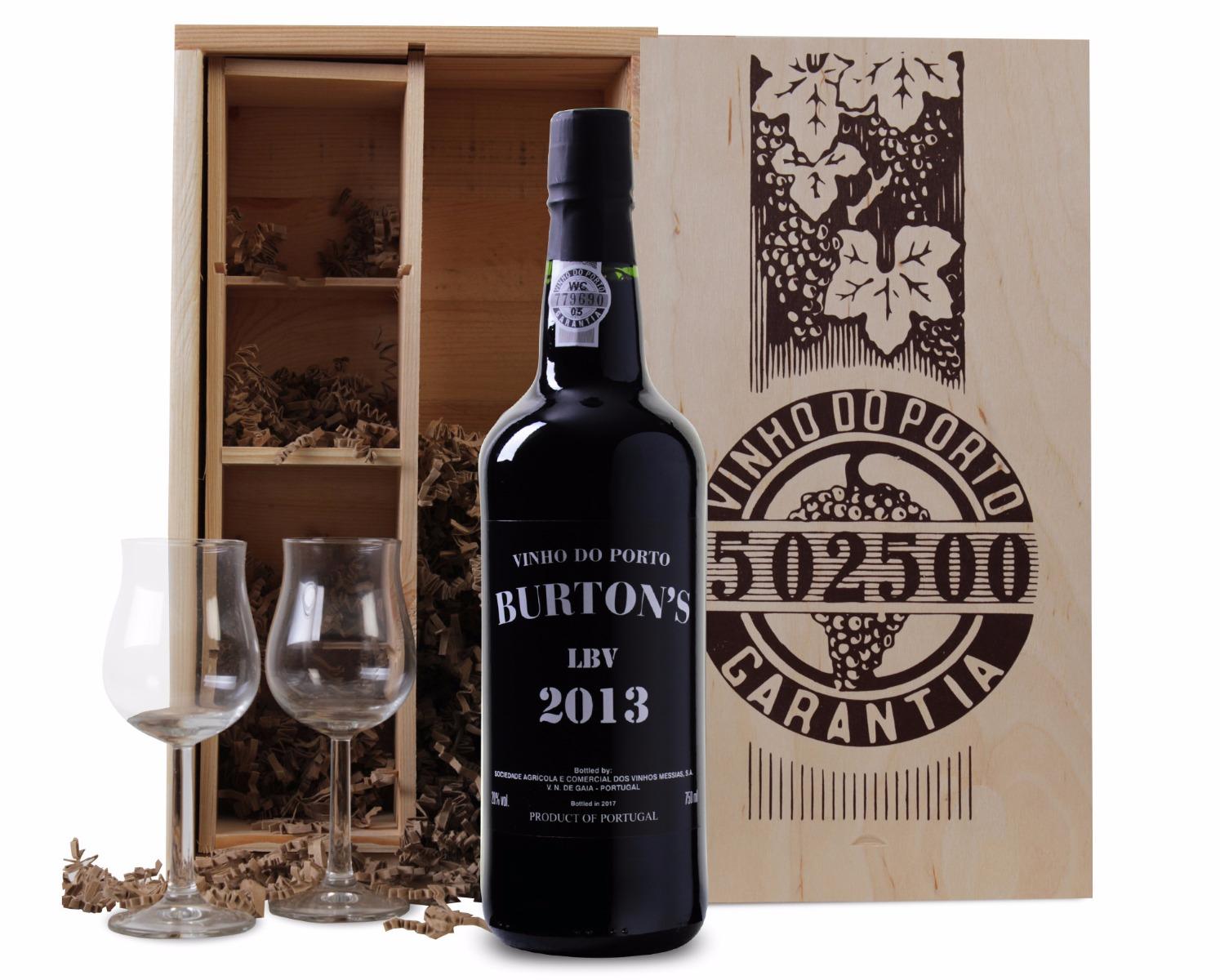 Burton's Late Bottled Vintage Port in Luxe Kist met 2 glazen