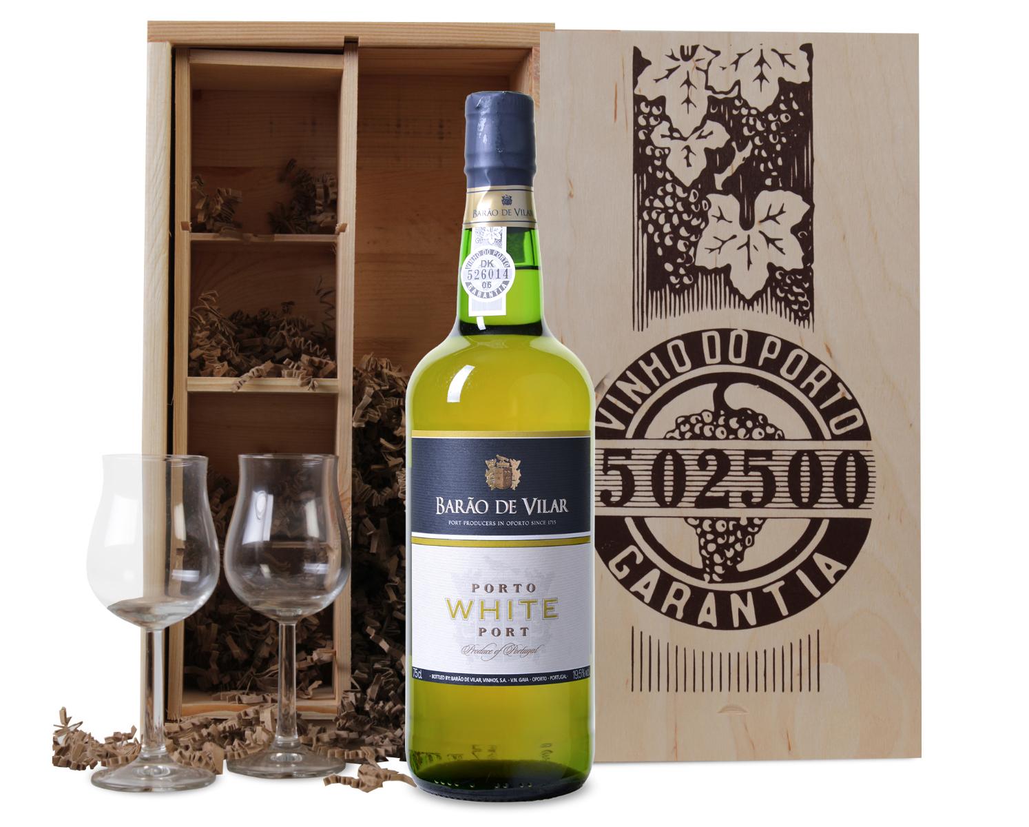 Image of Barão de Vilar sweet White port + 2 glazen in luxe portkist