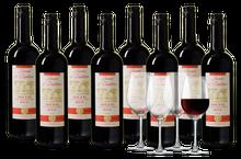 Wijnpakket Baron d'Embleme Merlot 8 flessen + 4 glazen