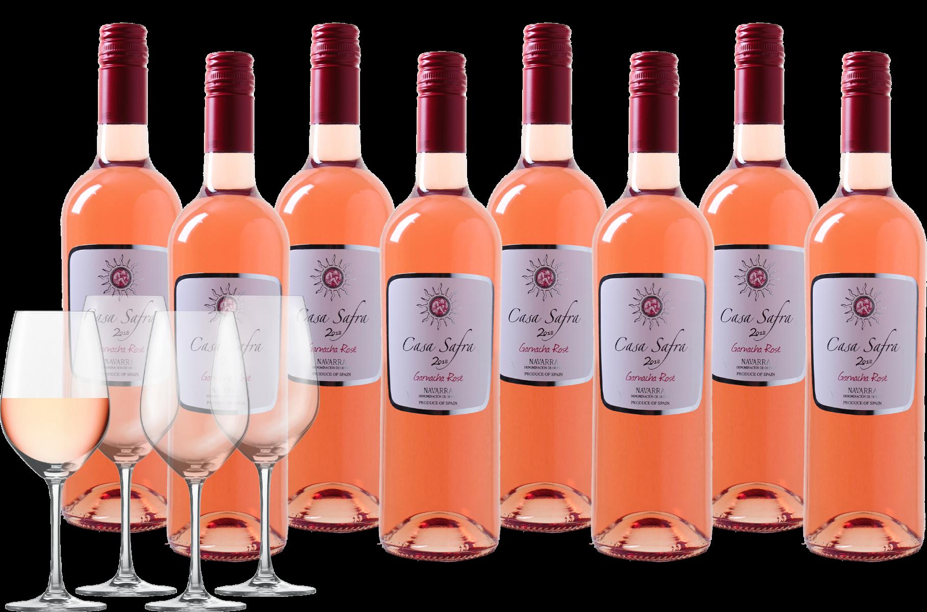 Wijnpakket Casa Safra Garnacha Rosado 8 flessen + 4 glazen