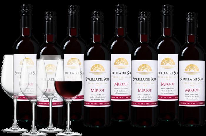 Wijnpakket Sorella del Sole Merlot met 4 glazen