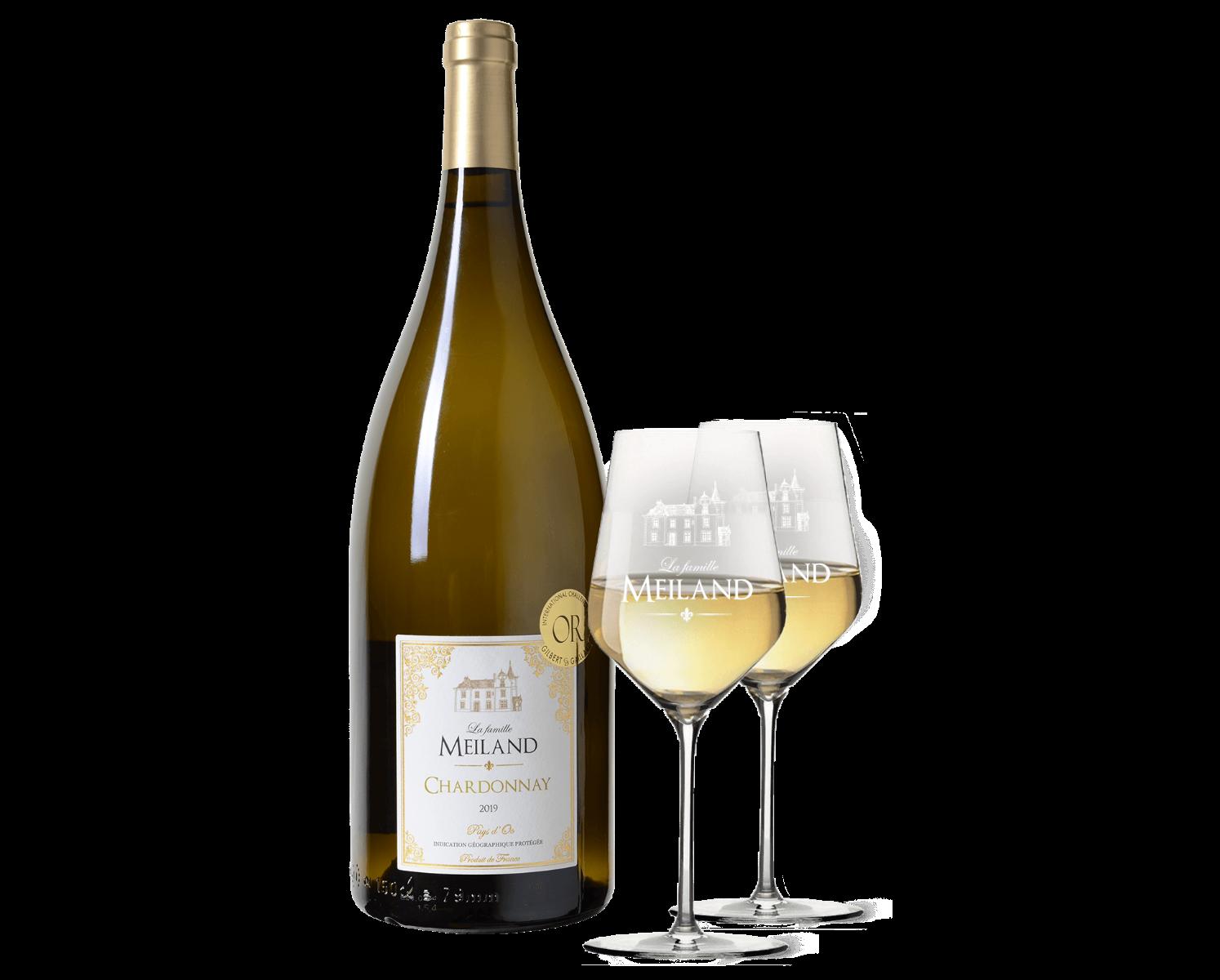 La famille Meiland Chardonnay Magnum met 2 Meilandglazen wijnvoordeel.nl