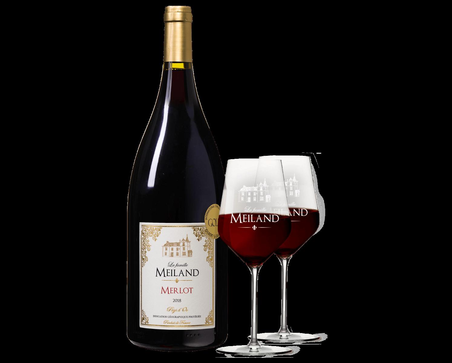 La famille Meiland Merlot Magnum met 2 Meilandglazen wijnvoordeel.nl