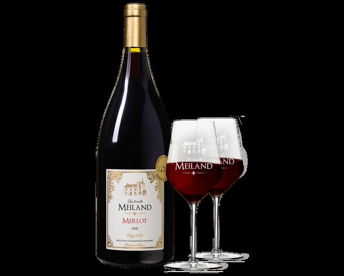 Meiland Magnum rood met 2 glazen | Wijnvoordeel