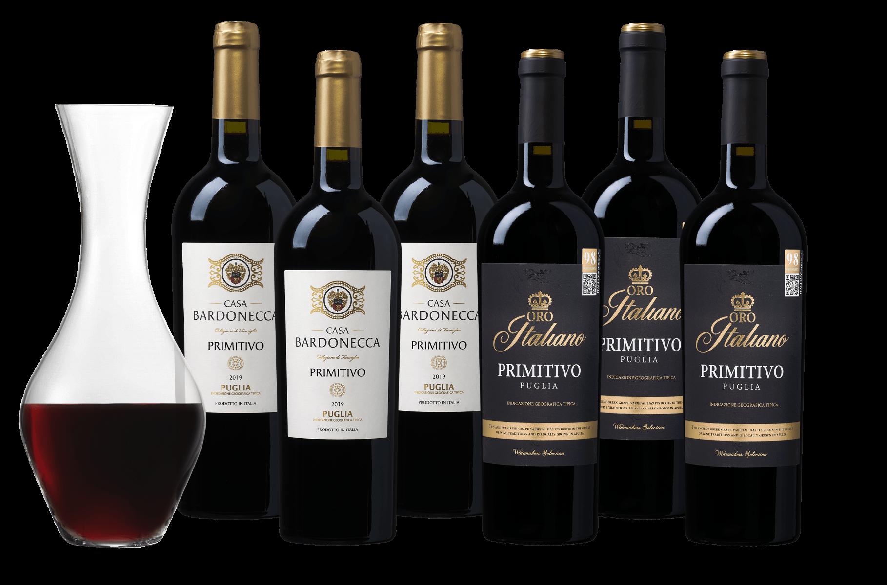 Wijnpakket Primitivo - 6 flessen + karaf