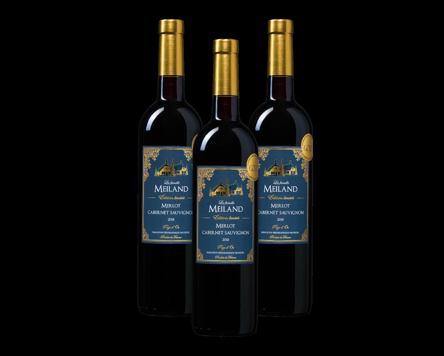 Wijnpakket La famille Meiland Édition limitée Merlot-Cabernet Sauvignon Pays d'Oc IGP (3 flesse