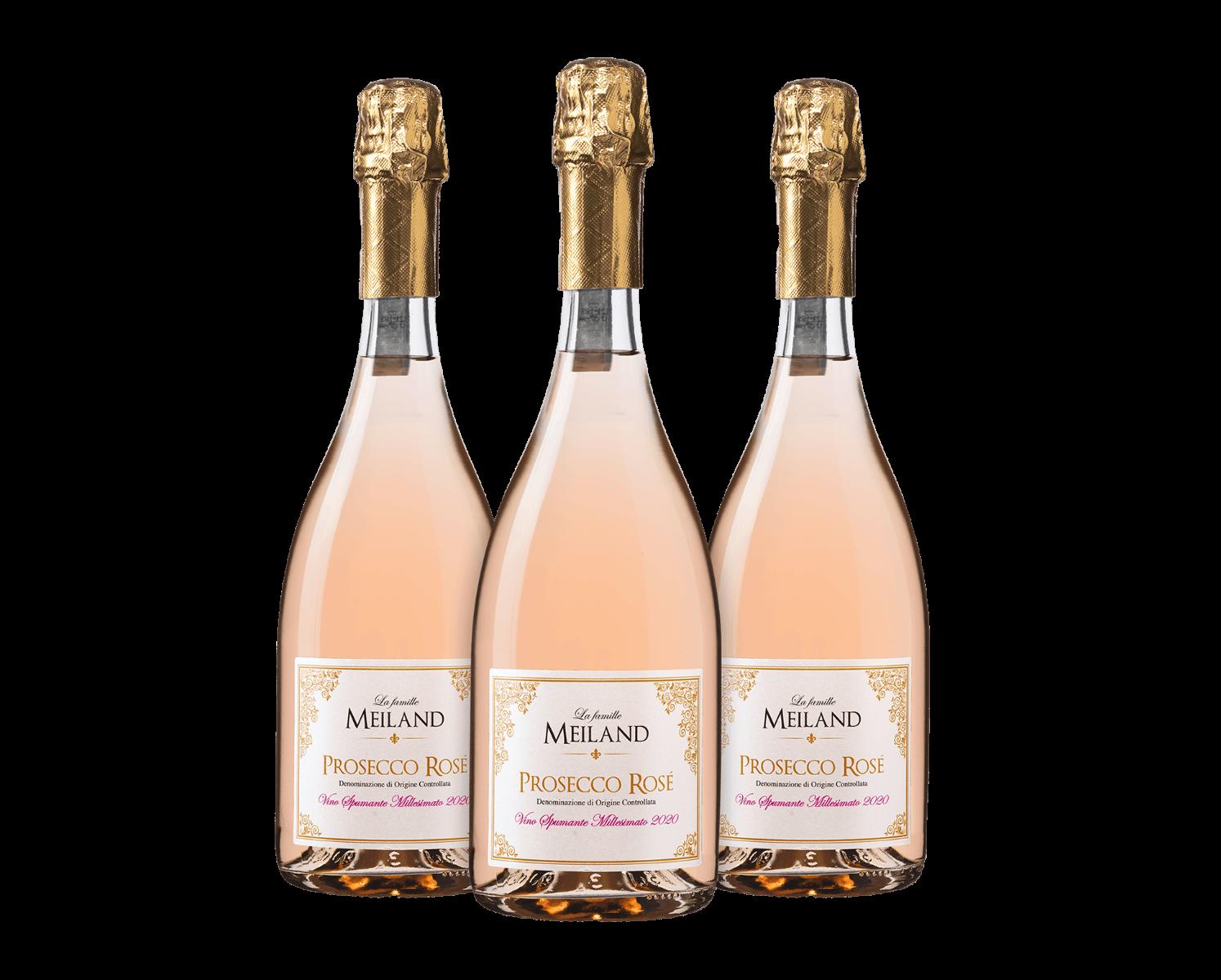 La famille Meiland Prosecco Rosé DOC Vino Spumante Dry Millesimato (3 flessen)