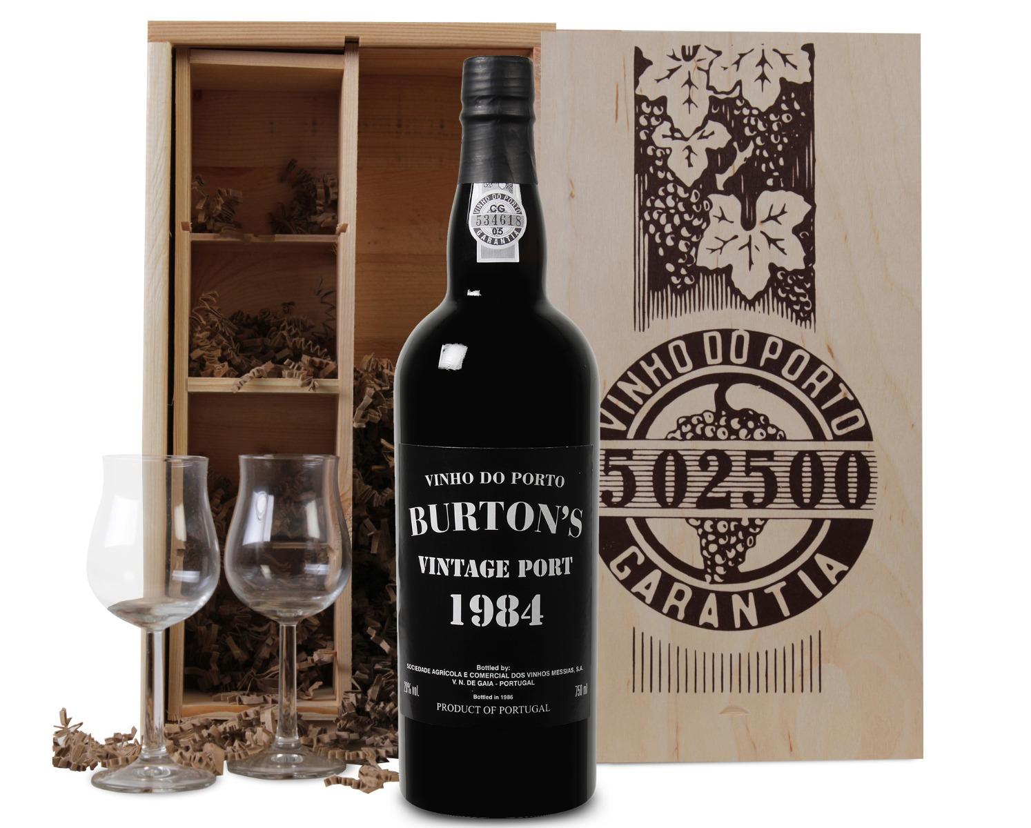 Burton's Vintage Port 1984 in luxe kist met twee glazen