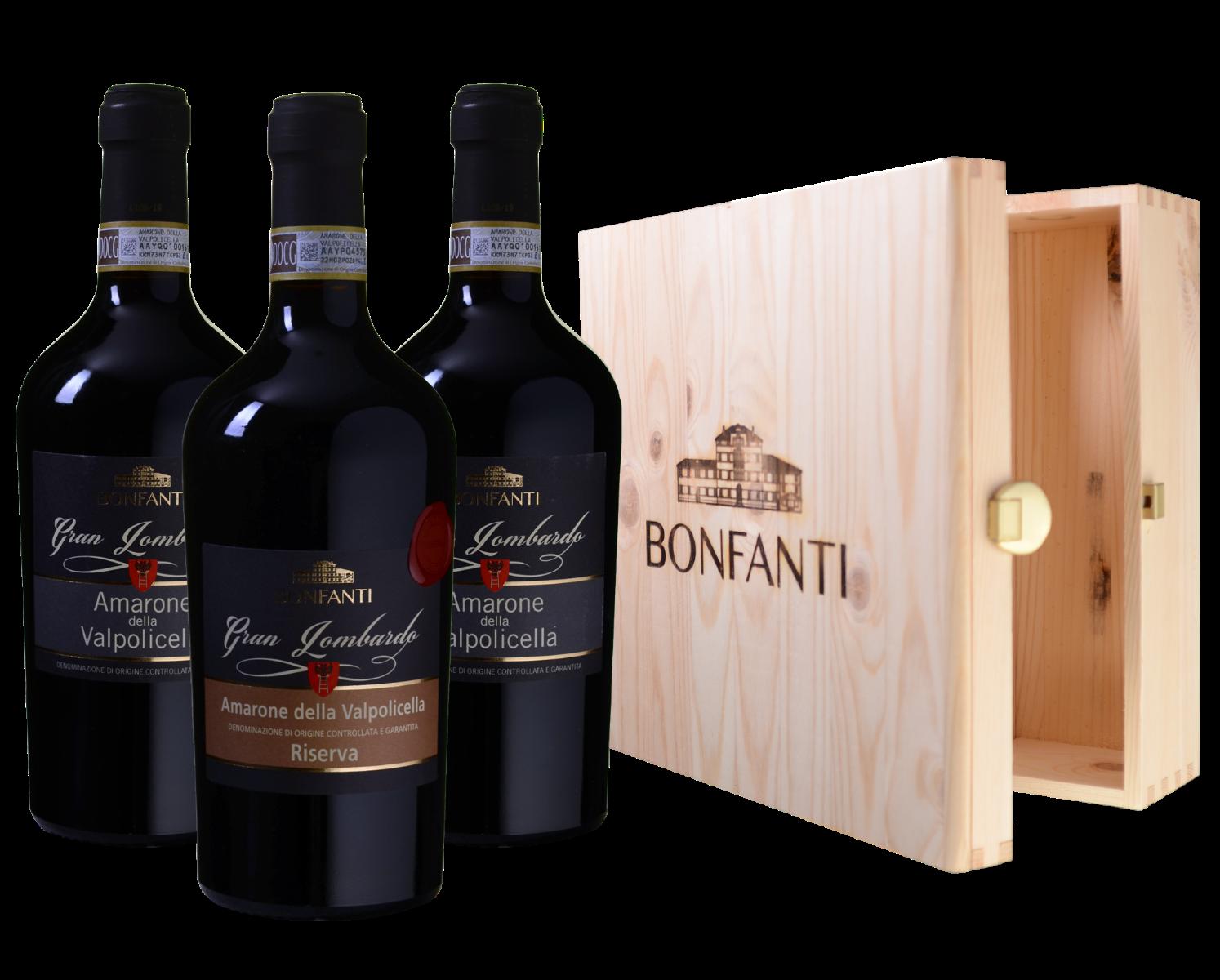 Afbeelding van Drie Gran Lombardo Amarone della Valpolicella wijnen in luxe wijnkist