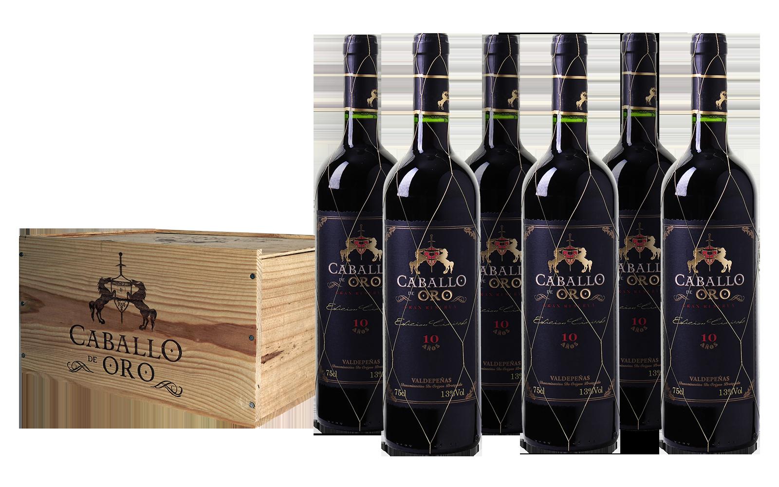 Wijnkist Caballo de Oro Valdepeñas DO Gran Reserva (6 flessen)