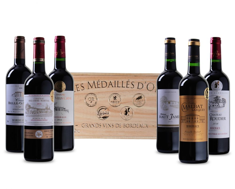 Goudbekroonde Bordeaux Selectie in luxe houten kist