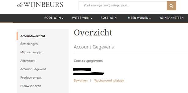 Accountpagina Wijnbeurs