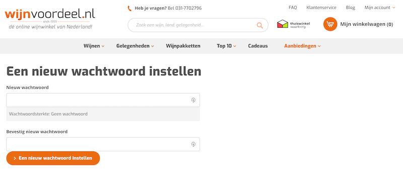 Nieuw wachtwoord