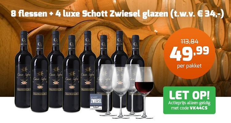 Casa Safra 8 flessen en 4 wijnglazen