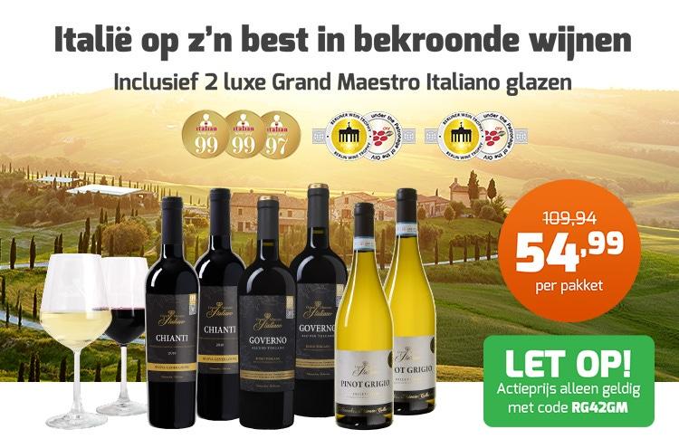 Grand Maestro Italiano pakket met 4 glazen